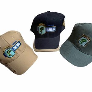 Lot of 3 Embroidered B.A.S.S. Fishing Hats